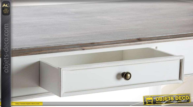 Table de salle manger en bois coloris patin s for Objet deco table salle a manger