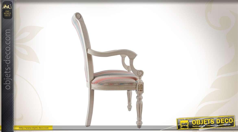 chaise de style r tro bois et lin motifs rayures. Black Bedroom Furniture Sets. Home Design Ideas