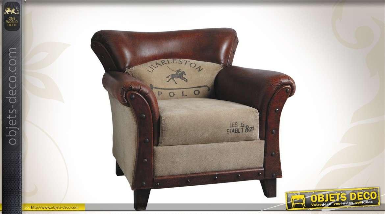 Fauteuil club Charleston Polo, en cuir et coton de style vintage, finition effet ancien, 86cm