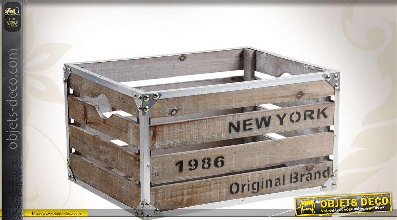 caisse de rangement en bois et m tal avec inscription new york. Black Bedroom Furniture Sets. Home Design Ideas