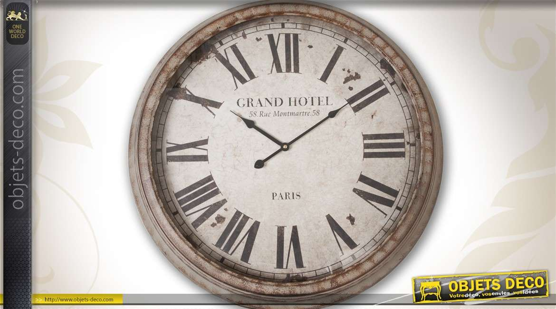 horloge murale de style r tro 70 cm en m tal th me oenologie. Black Bedroom Furniture Sets. Home Design Ideas