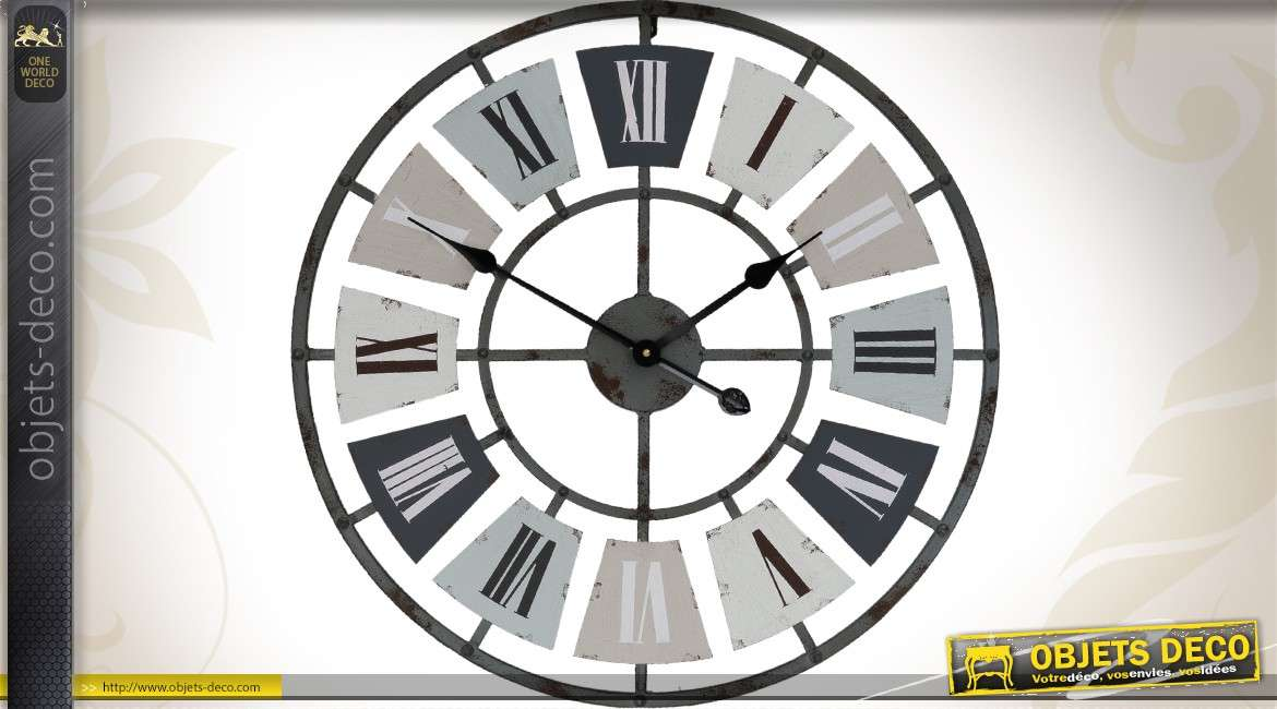 grande horloge murale en m tal de style industriel 60 cm. Black Bedroom Furniture Sets. Home Design Ideas