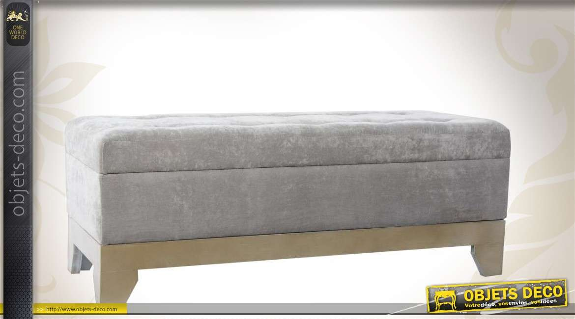 banquette coffre en bois et tissu coloris gris. Black Bedroom Furniture Sets. Home Design Ideas
