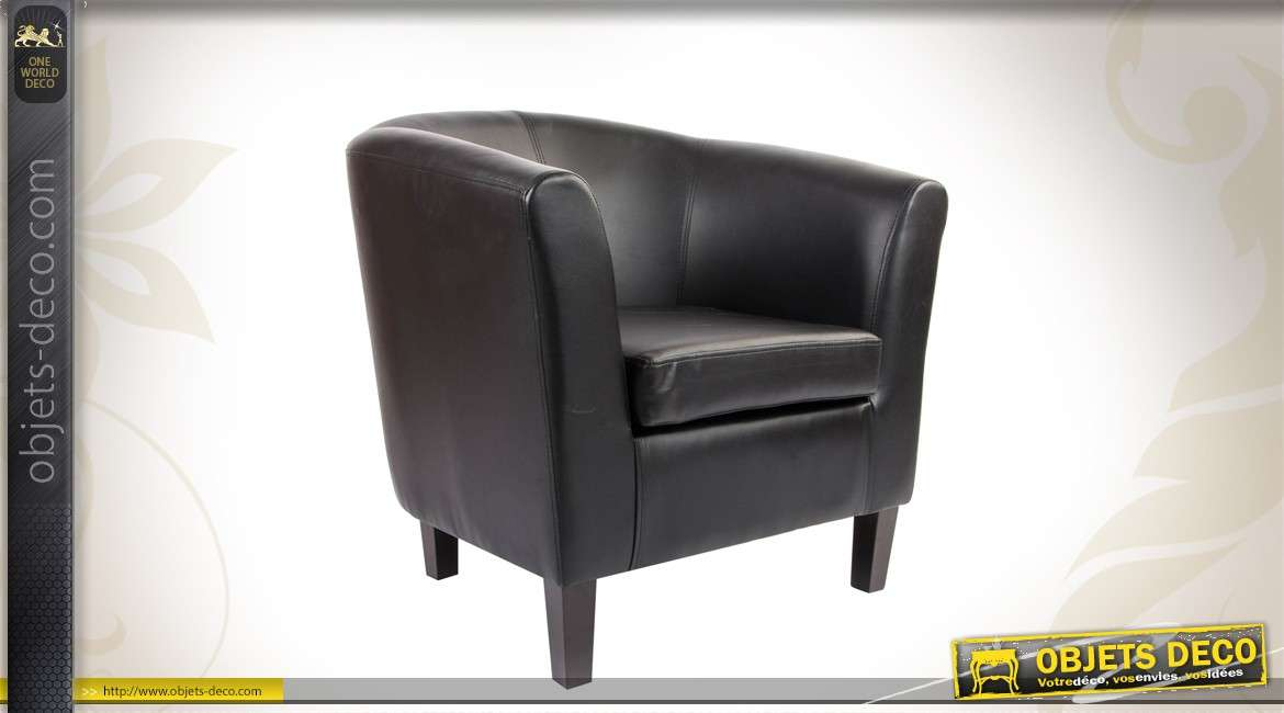 fauteuil cabriolet en similicuir noir. Black Bedroom Furniture Sets. Home Design Ideas