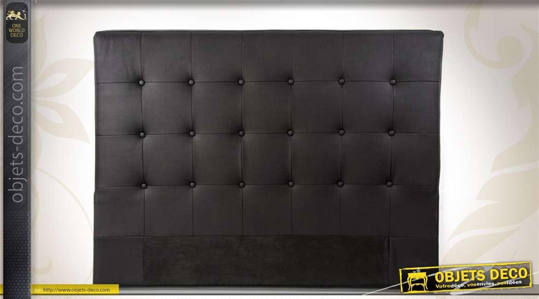 t te de lit 2 places en similicuir noir capitonn. Black Bedroom Furniture Sets. Home Design Ideas
