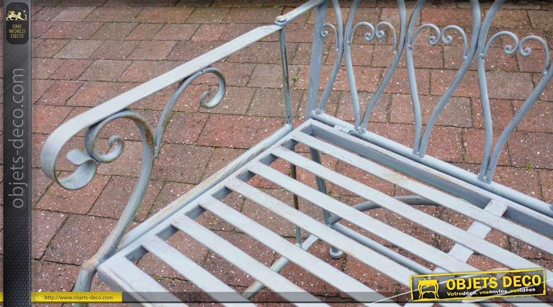 Banc de jardin en métal et fer forgé vert clair