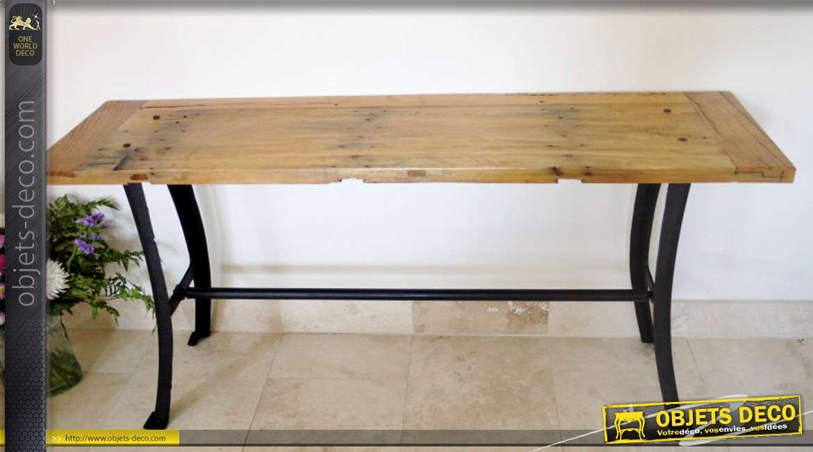 console table d 39 atelier style industriel bois massif et m tal. Black Bedroom Furniture Sets. Home Design Ideas