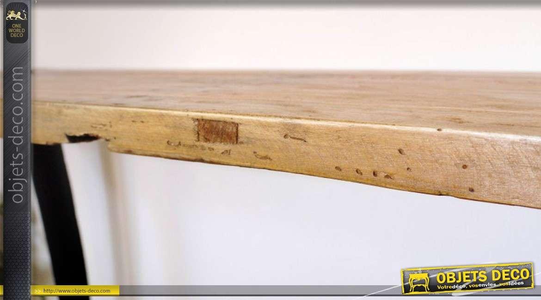 Console table d\'atelier style industriel bois massif et métal