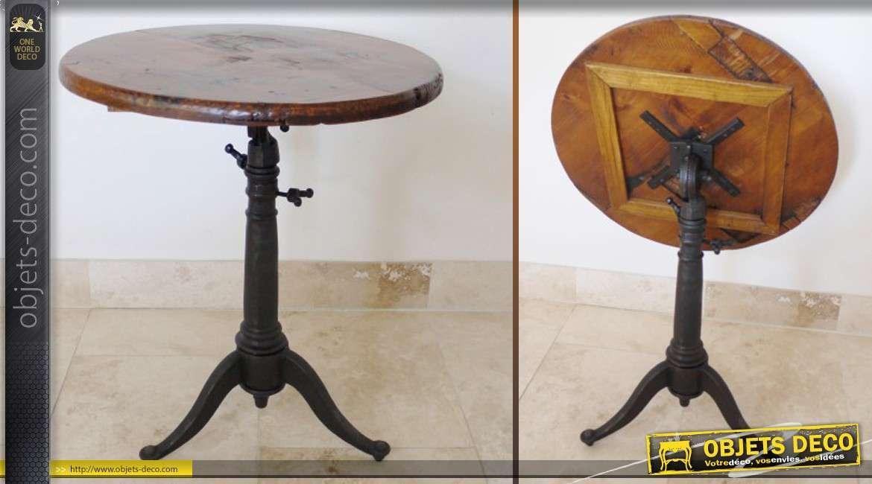 Table ronde ancienne en bois et métalà plateau basculant # Table Ronde Bois Et Metal
