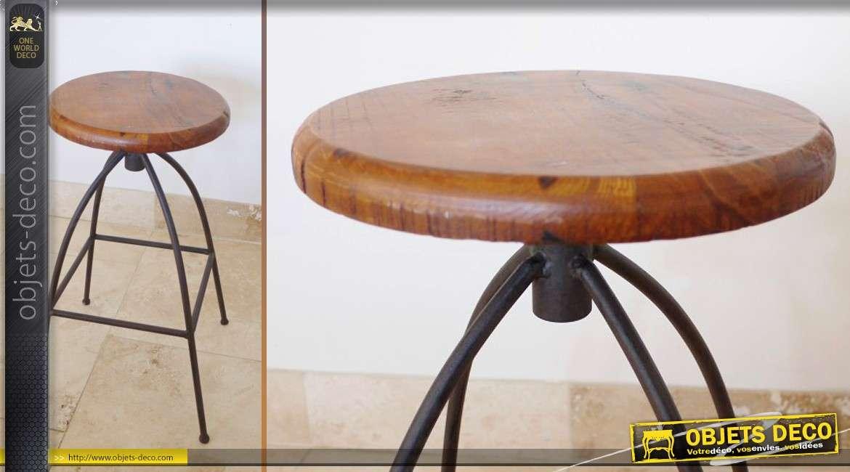 tabouret en bois massif et m tal de style r tro et industriel. Black Bedroom Furniture Sets. Home Design Ideas