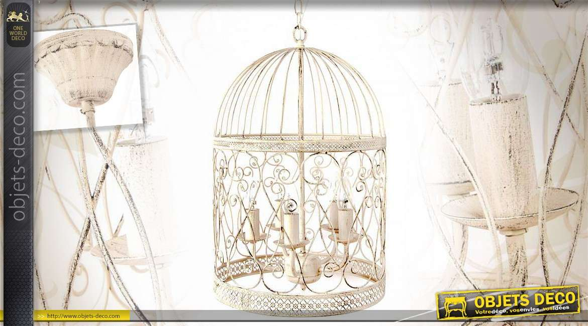 lustre cage oiseaux cr me et gris effet vieilli 4 feux. Black Bedroom Furniture Sets. Home Design Ideas
