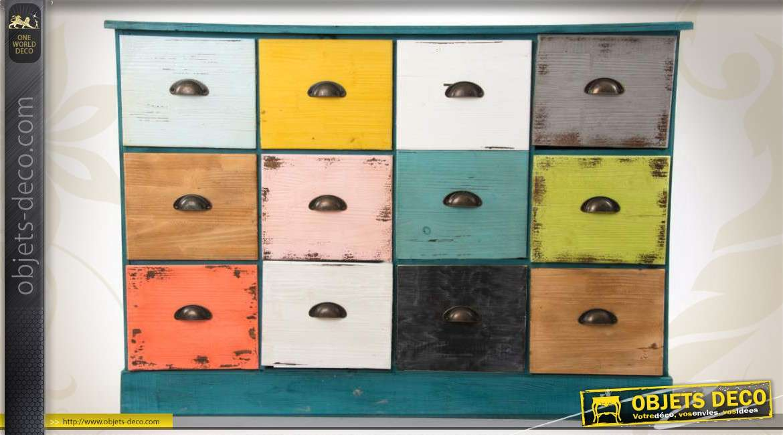 Meuble de rangement 12 tiroirs coloris multiples for Meuble a tiroirs multiples