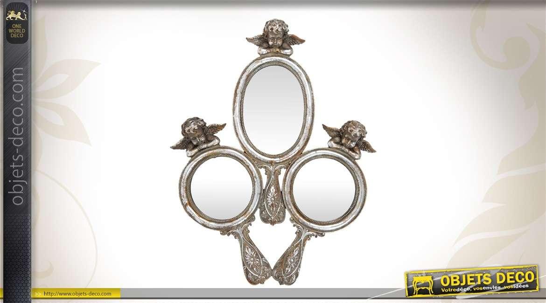 Miroir d coratif en bois motifs ethniques for Miroir decoratif
