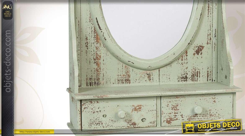 Miroir pour coiffeuse style brocante en bois 2 tiroirs - Table pour brocante ...