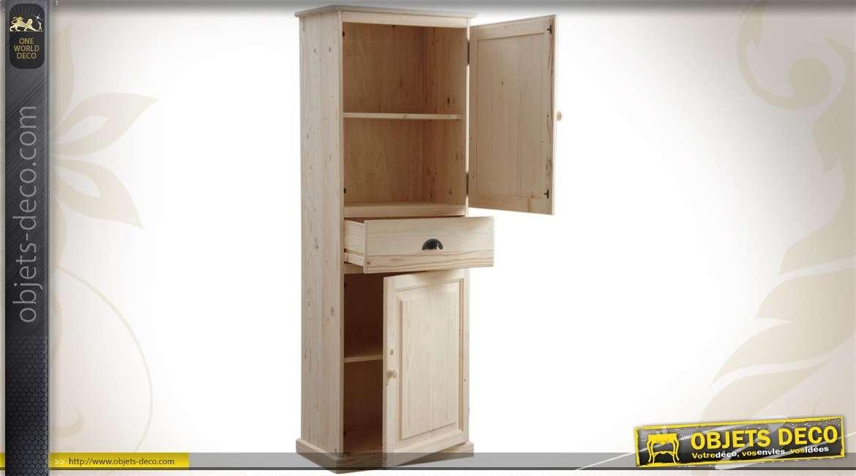 Bonnetière en épicéa avec 2 portes et 1 tiroir