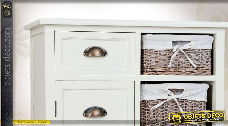 Buffet blanc avec paniers de rangement en osier - Meuble rangement avec panier ...