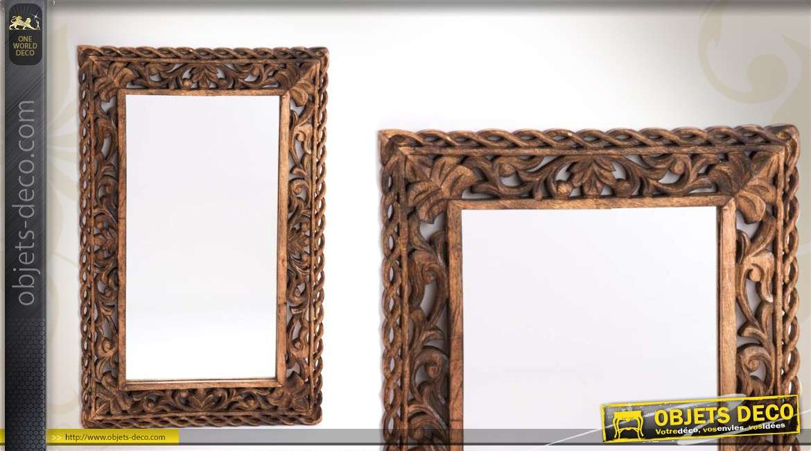 miroir en bois ornementation entrelac e. Black Bedroom Furniture Sets. Home Design Ideas