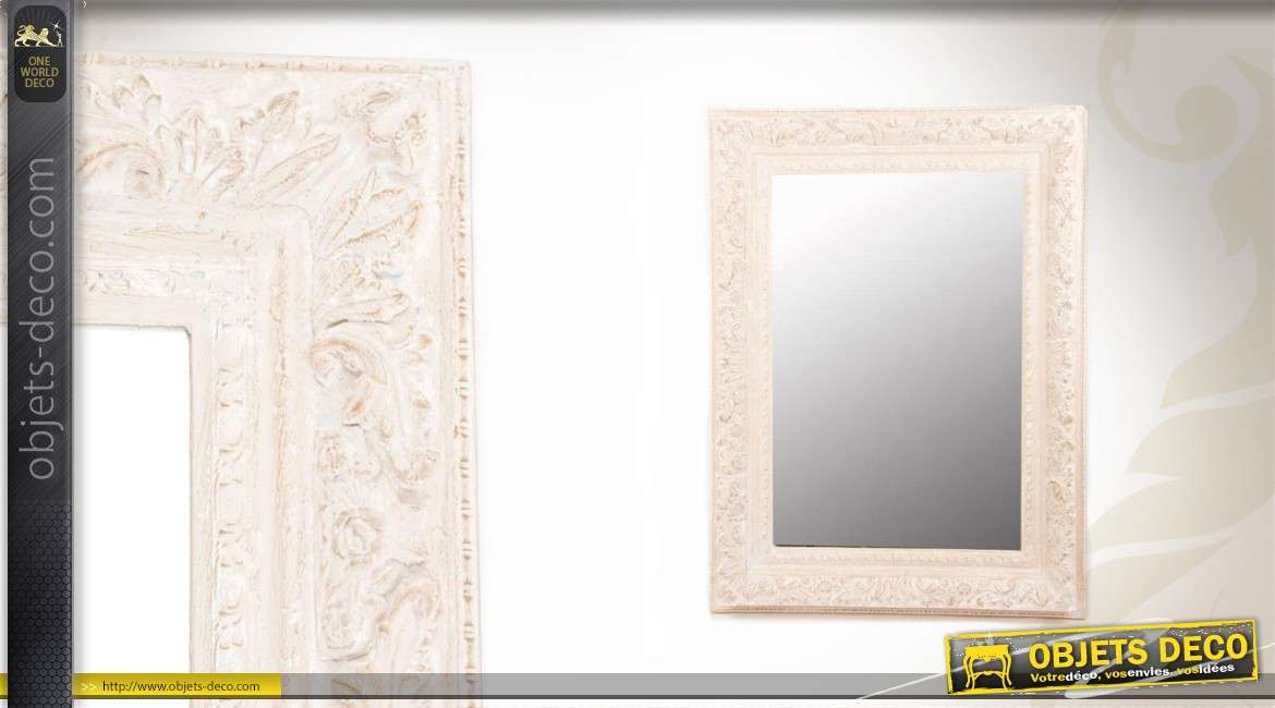 Miroir mural en bois patine cr me vieillie 120 cm for But miroir mural