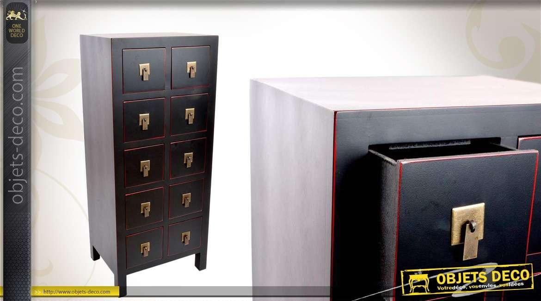 Chiffonnier de style japonais 10 tiroirs coloris noir for Meubles japonais suisse