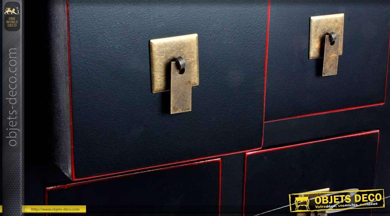 Chiffonnier de style japonais 10 tiroirs coloris noir for Objet deco rouge et noir