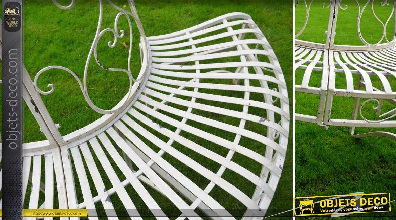 banc d 39 arbre en m tal style fer forg coloris blanc antique. Black Bedroom Furniture Sets. Home Design Ideas