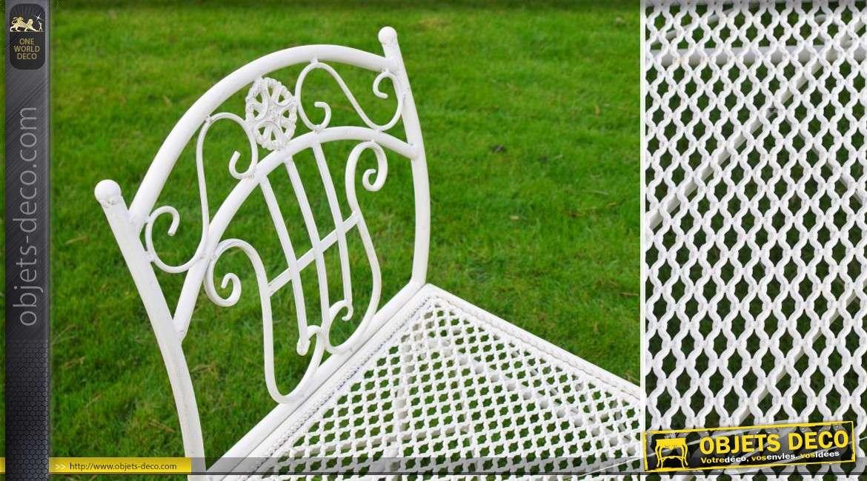 banc de jardin bout de lit en m tal coloris blanc antique. Black Bedroom Furniture Sets. Home Design Ideas