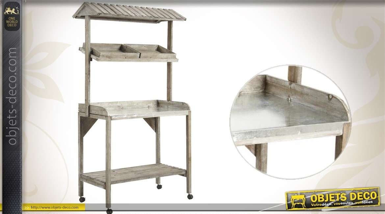 Chariot présentoir en bois et zinc finition vieillie
