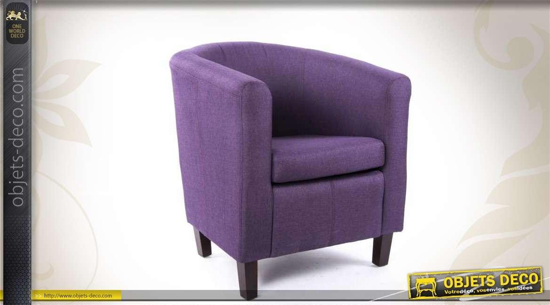 fauteuil cabriolet bois et tissu coloris violet. Black Bedroom Furniture Sets. Home Design Ideas