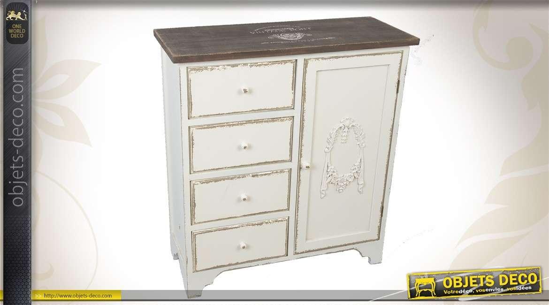 armoire en bois 4 tiroirs et 1 porte patines anciennes. Black Bedroom Furniture Sets. Home Design Ideas