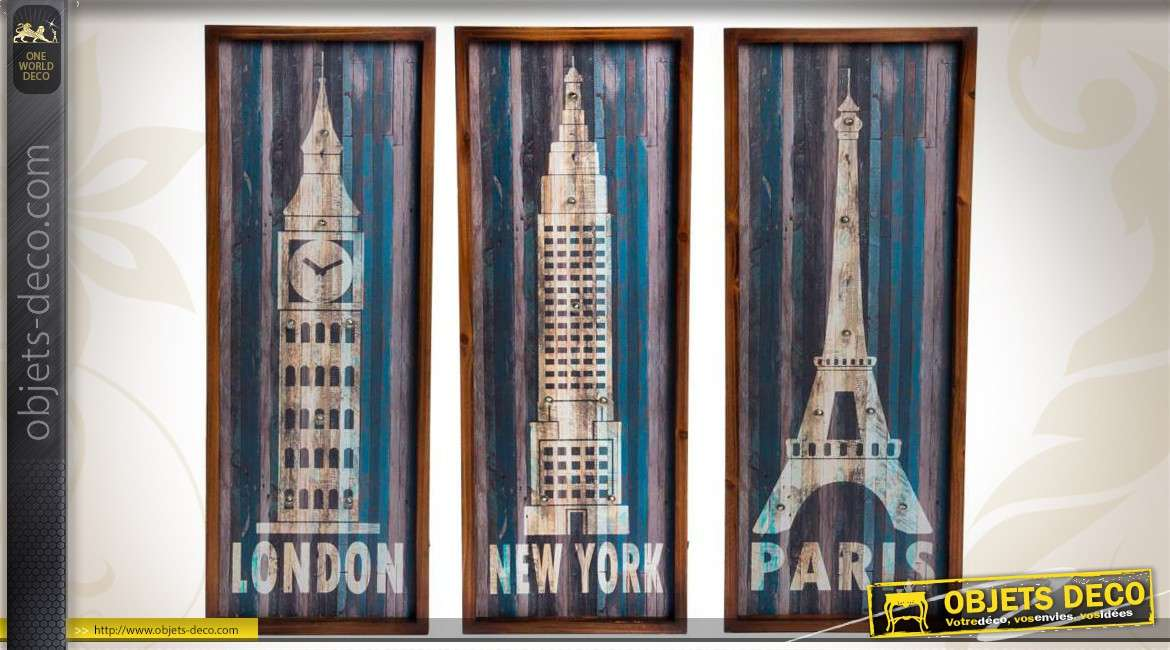 s rie de 3 tableaux lumineux en bois londres new yorkparis. Black Bedroom Furniture Sets. Home Design Ideas