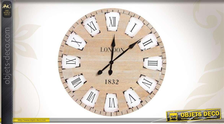horloge ronde london en bois vintage. Black Bedroom Furniture Sets. Home Design Ideas