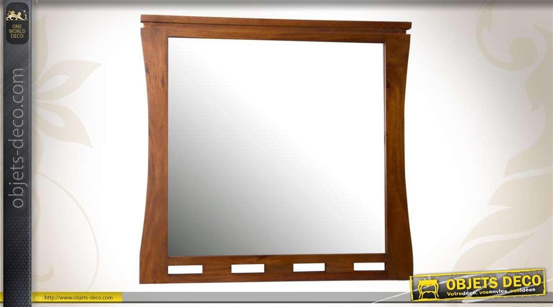 Miroir mural en acajou design contemporain for Miroir contemporain design
