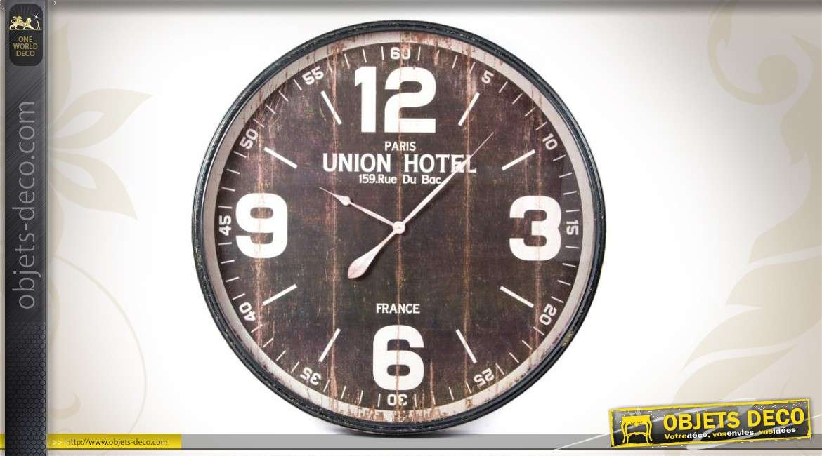 horloge murale union hotel de style vintage. Black Bedroom Furniture Sets. Home Design Ideas