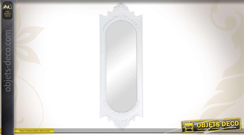 grand miroir baroque de dressing 180 cm r tro blanc antique. Black Bedroom Furniture Sets. Home Design Ideas