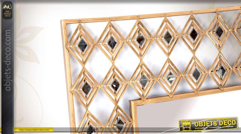 miroir mural g om trique en m tal dor. Black Bedroom Furniture Sets. Home Design Ideas
