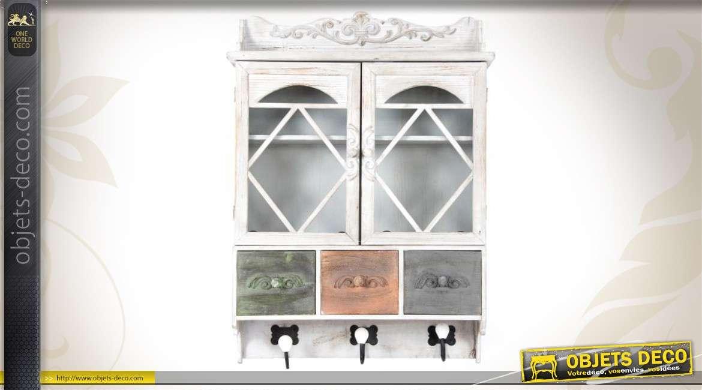 armoire murale en bois patines vieillies. Black Bedroom Furniture Sets. Home Design Ideas