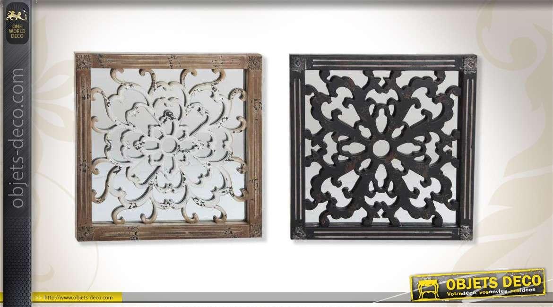 miroir mural en bois sculpt. Black Bedroom Furniture Sets. Home Design Ideas