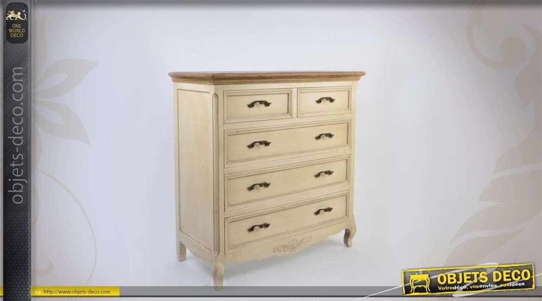 commode en bois style campagne patine cr me. Black Bedroom Furniture Sets. Home Design Ideas