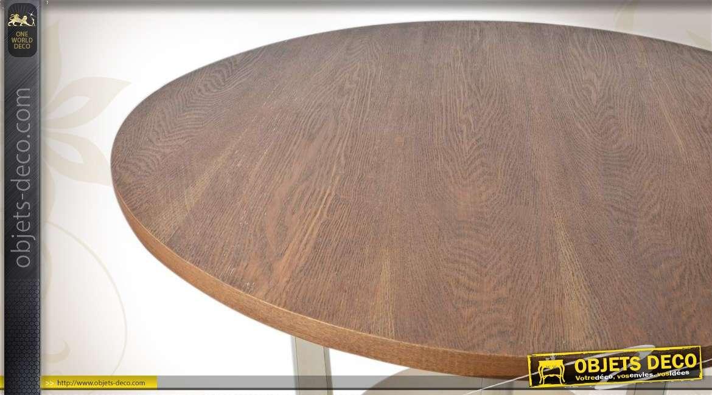Table ronde en bois bicolore for Table bois bicolore
