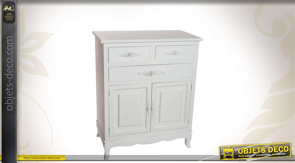 commode romantique en bois coloris blanc. Black Bedroom Furniture Sets. Home Design Ideas
