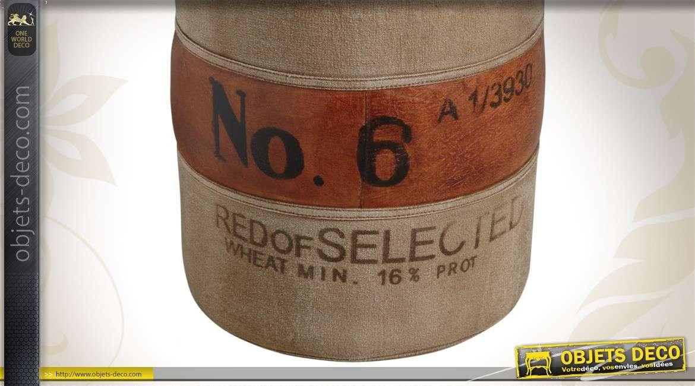 Corbeille en tissu effet vintage avec bandeau cuir