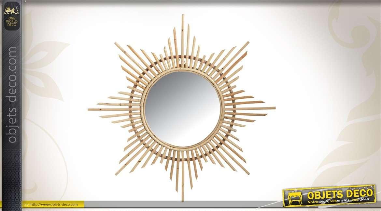 Miroir soleil en rotin 70 cm for Miroir rond 70 cm