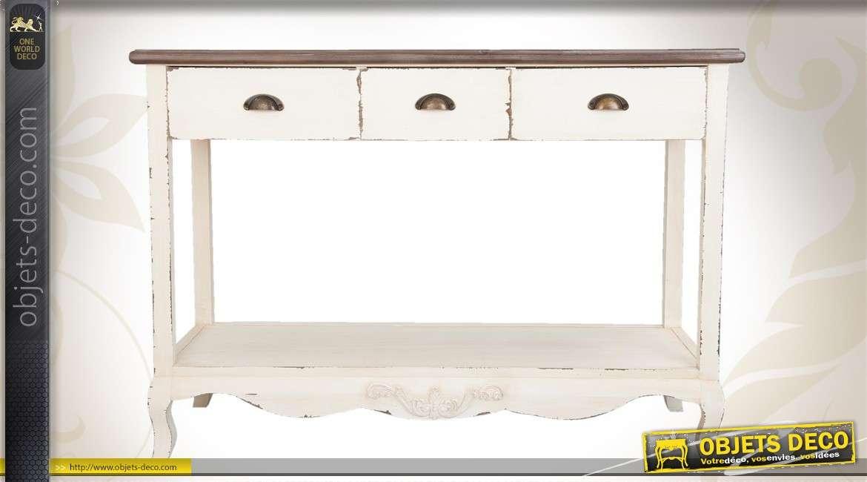 Bureau vintage pieds en compas bois brut sans finition for Meuble bureau hauteur 80 cm