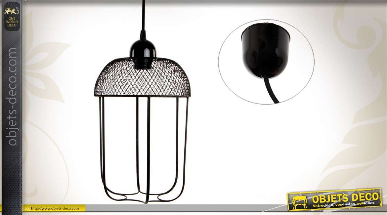 suspension design en m tal coloris noir. Black Bedroom Furniture Sets. Home Design Ideas