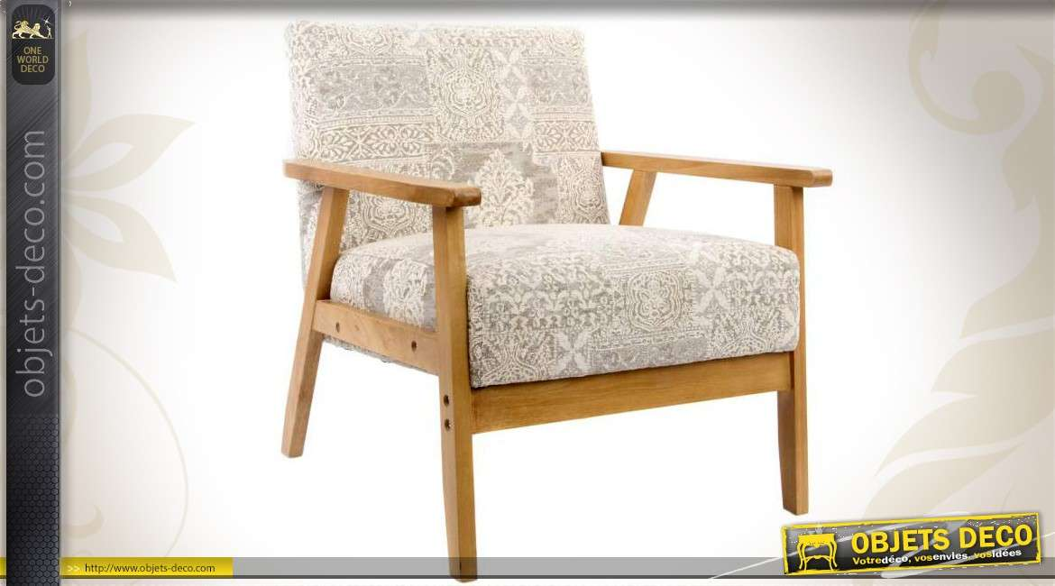 fauteuil contemporain en bois avec tissu motifs vari s. Black Bedroom Furniture Sets. Home Design Ideas