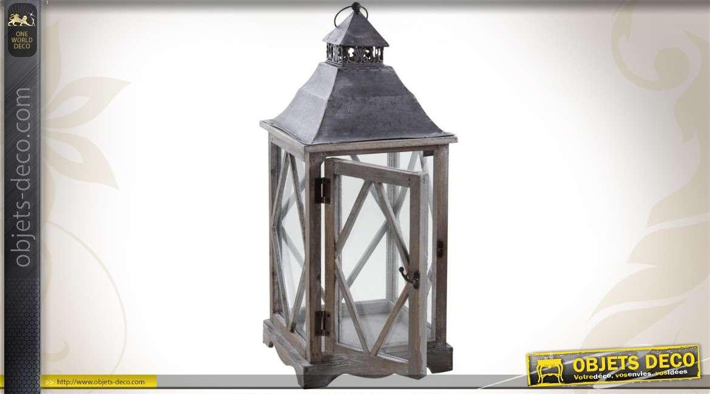 2 lanternes décoratives en bois et métal avec vitres en verre