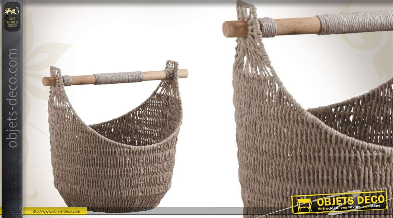 Corbeille taupe en papier cordé avec anse