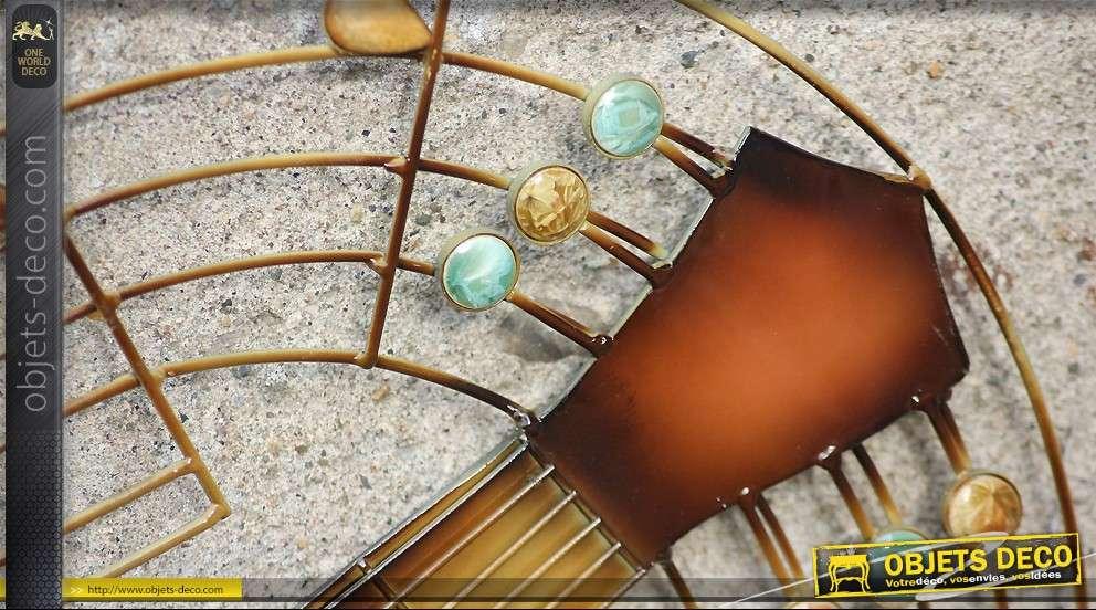 D coration murale guitare en fer forg for Decoration murale fer