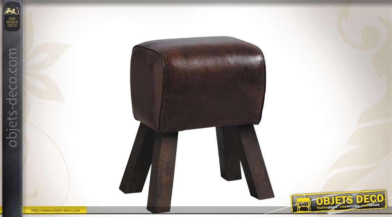 Tabouret en bois massif avec assise cuir foncé
