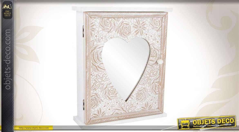 armoire clefs murale en bois sculpt avec miroirs. Black Bedroom Furniture Sets. Home Design Ideas